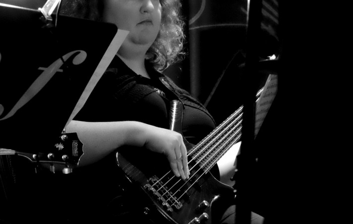 Emma Barnes on bass